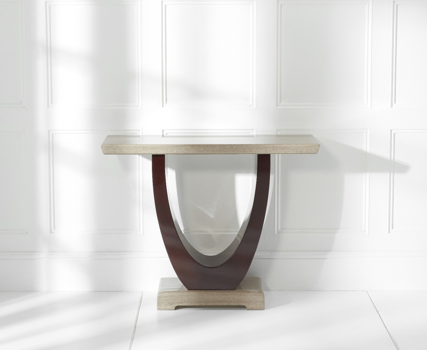 An image of Raphael Brown Marble Console Table