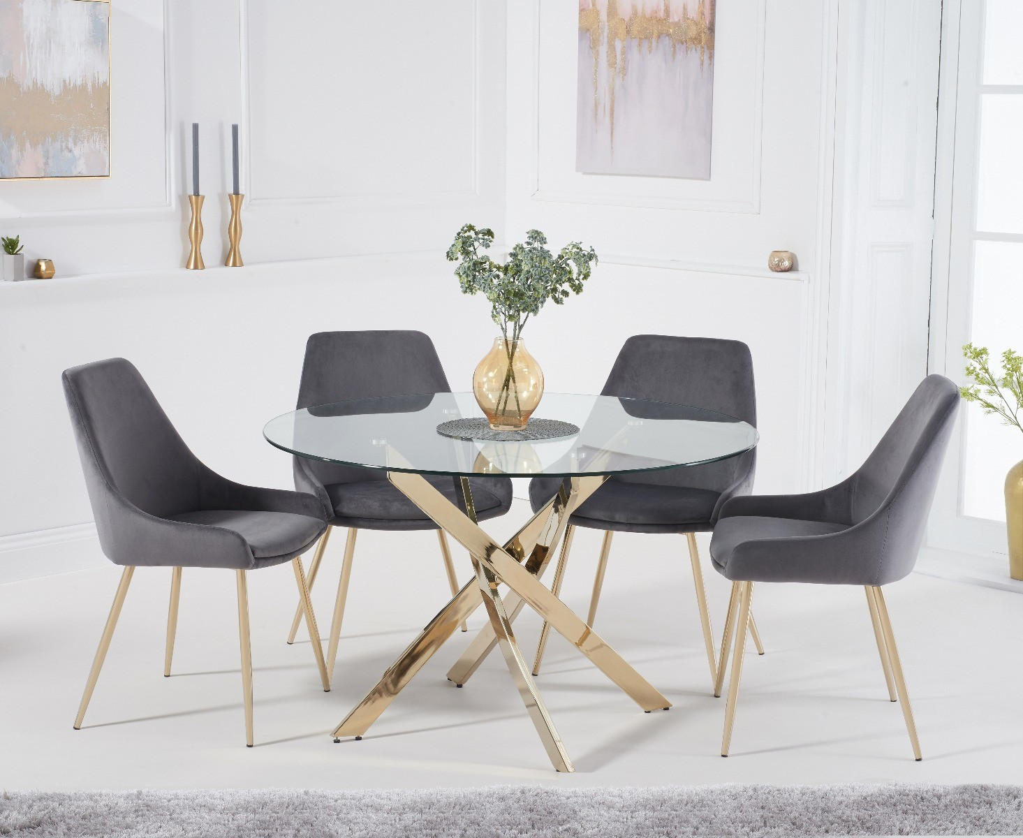 Product photograph showing Denver 120cm Gold Leg Glass Dining Table With Fern Velvet Chairs - Green 4 Chairs