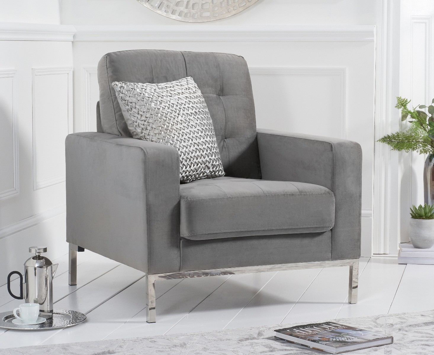 Product photograph showing Lydia Grey Velvet Armchair