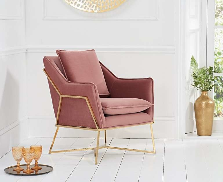 Product photograph showing Ex-display London Blush Velvet Accent Chair