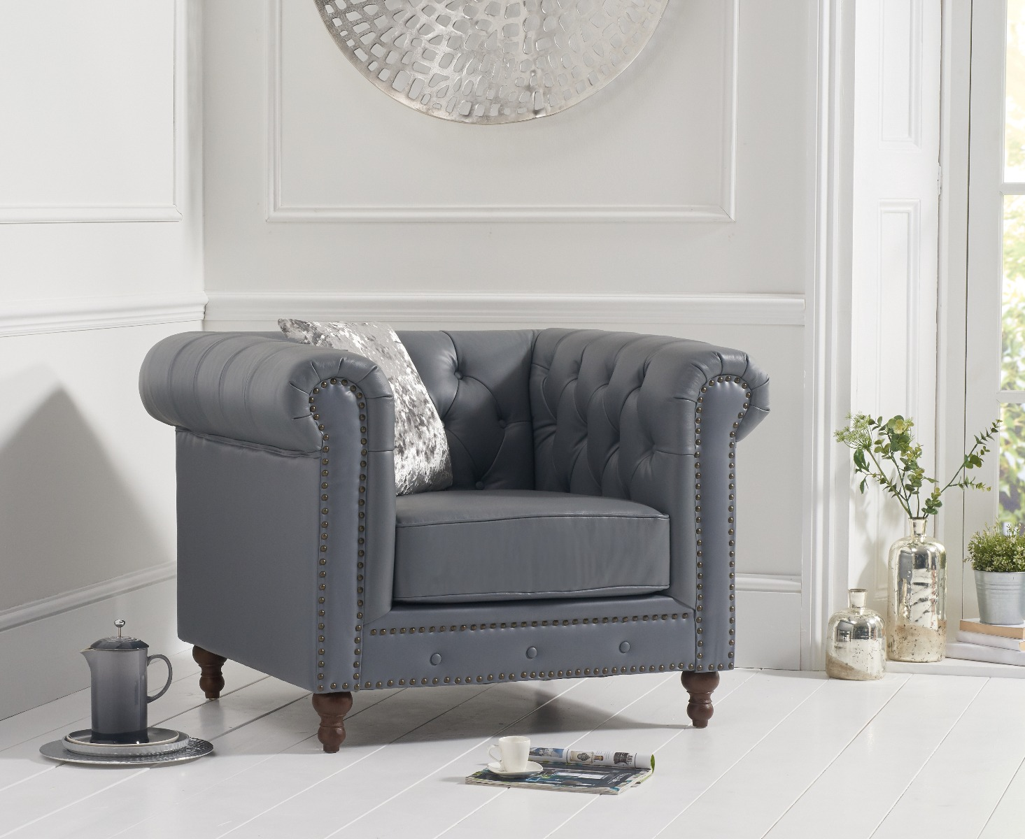 An image of Milano Chesterfield Grey Leather Armchair