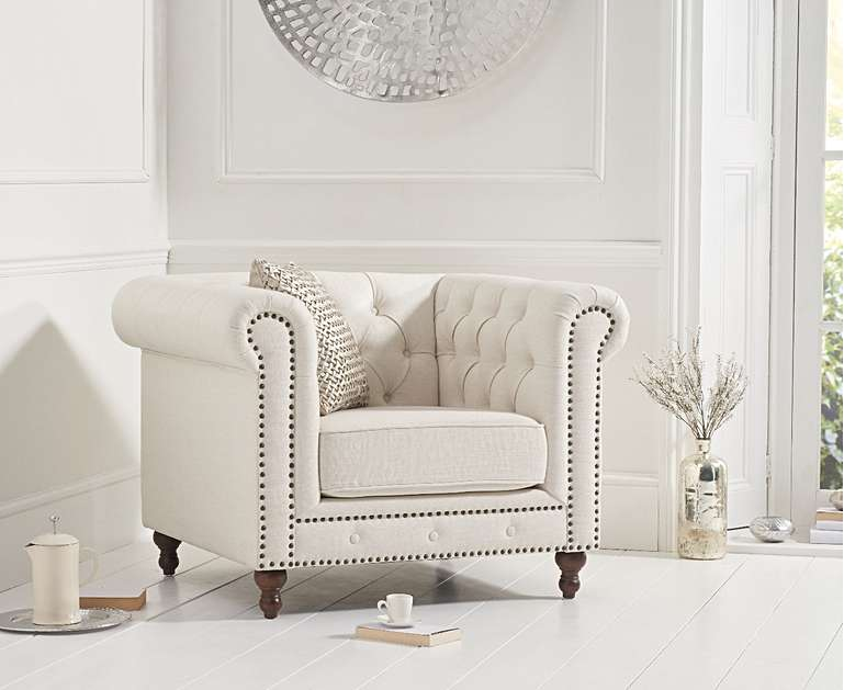 An image of Milano Chesterfield Ivory Linen Armchair