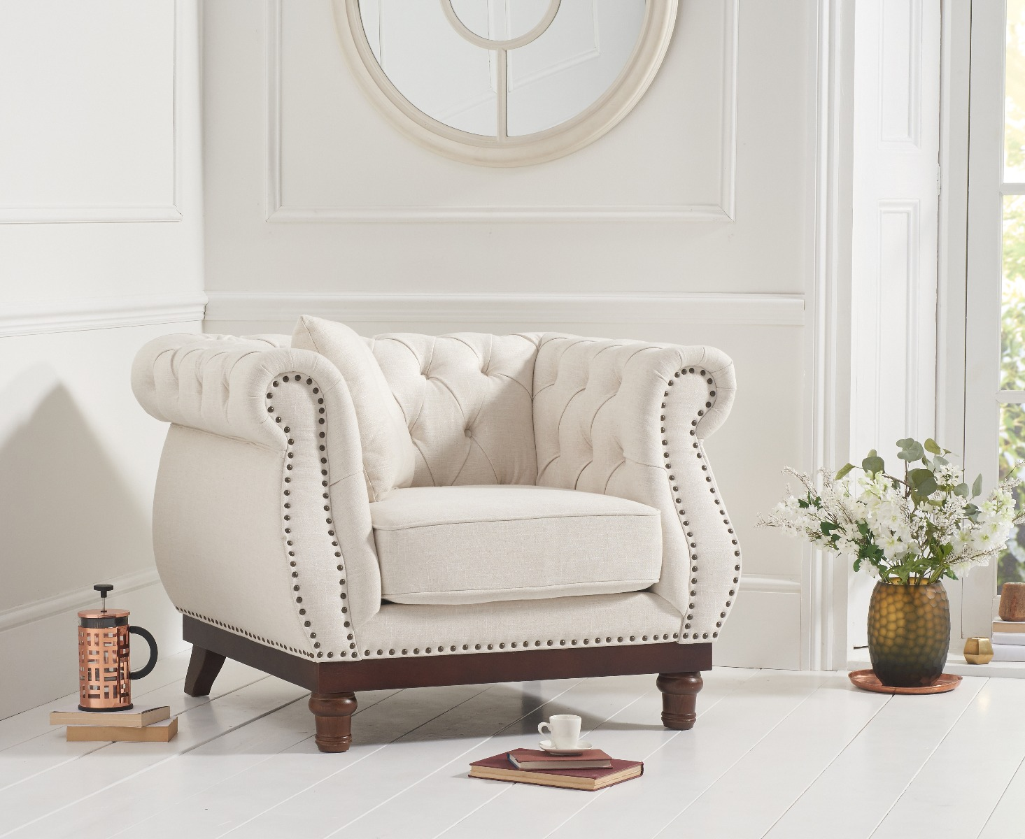 An image of Henbury Chesterfield Ivory Linen Armchair