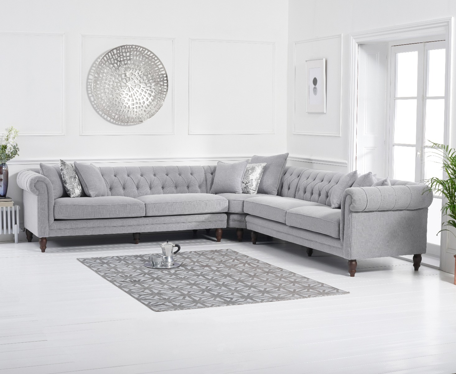 An image of Limoges Grey Linen Corner Sofa