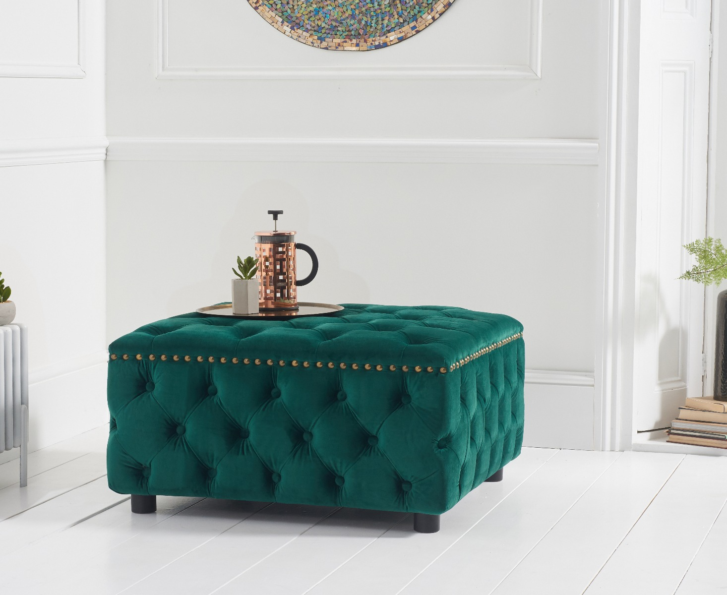 Flora Green Velvet Square Footstool