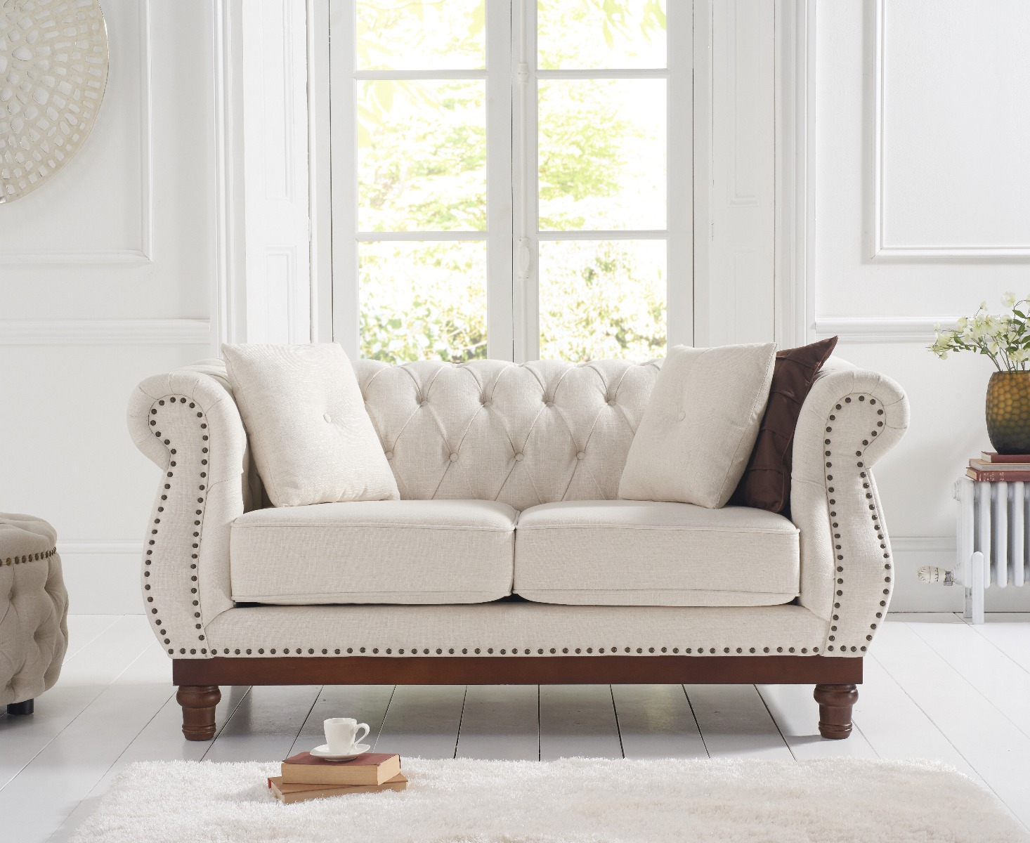 An image of Henbury Chesterfield Ivory Linen 2 Seater Sofa