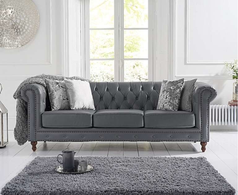 Ex-display Milano Chesterfield Grey Leather 3 Seater Sofa