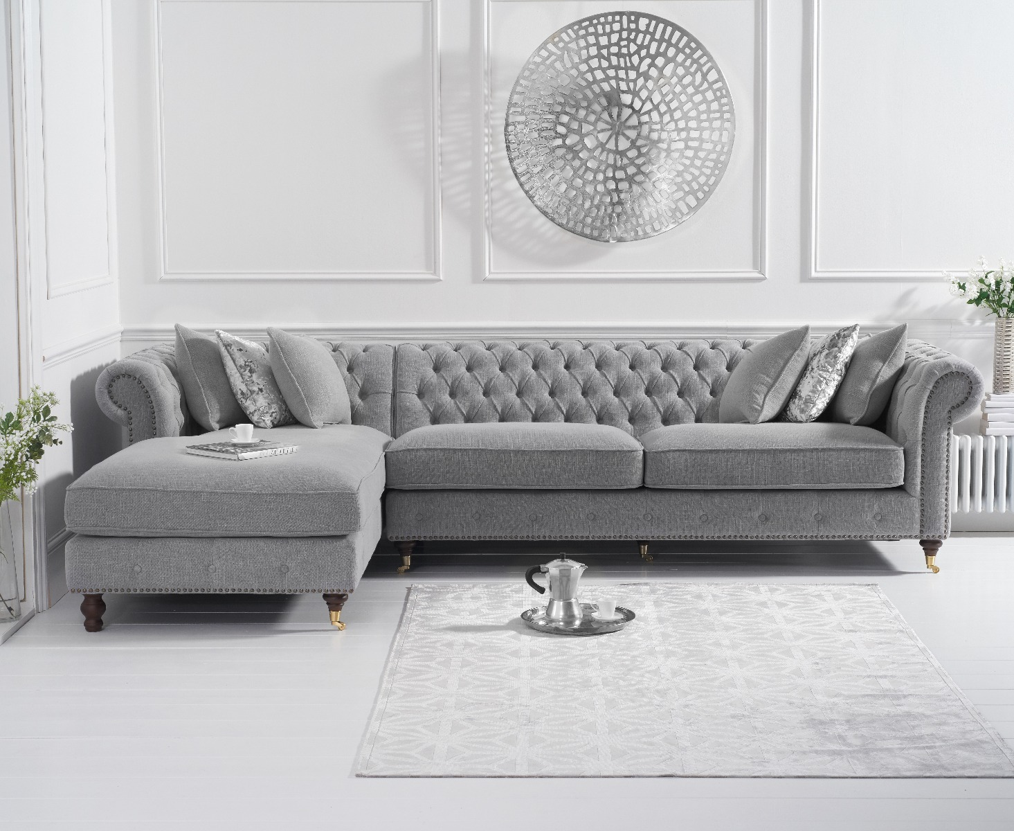 An image of Flora Grey Linen Left Facing Chesterfield Chaise Sofa
