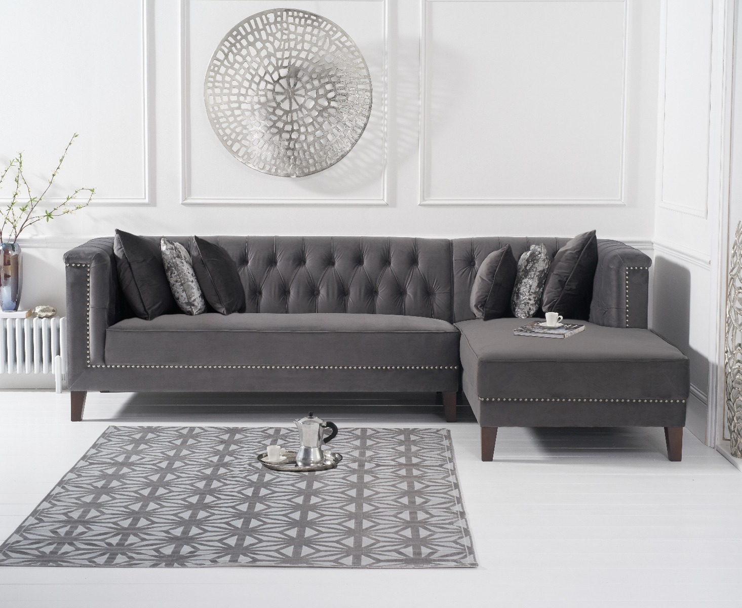 An image of Tammie Grey Velvet Right Facing Chaise Sofa
