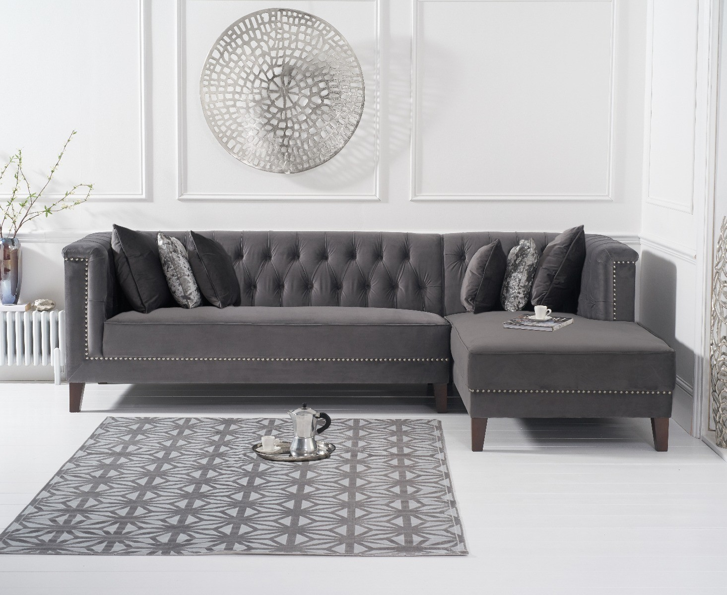 Ex-display Tammie Grey Velvet Right Facing Chaise Sofa