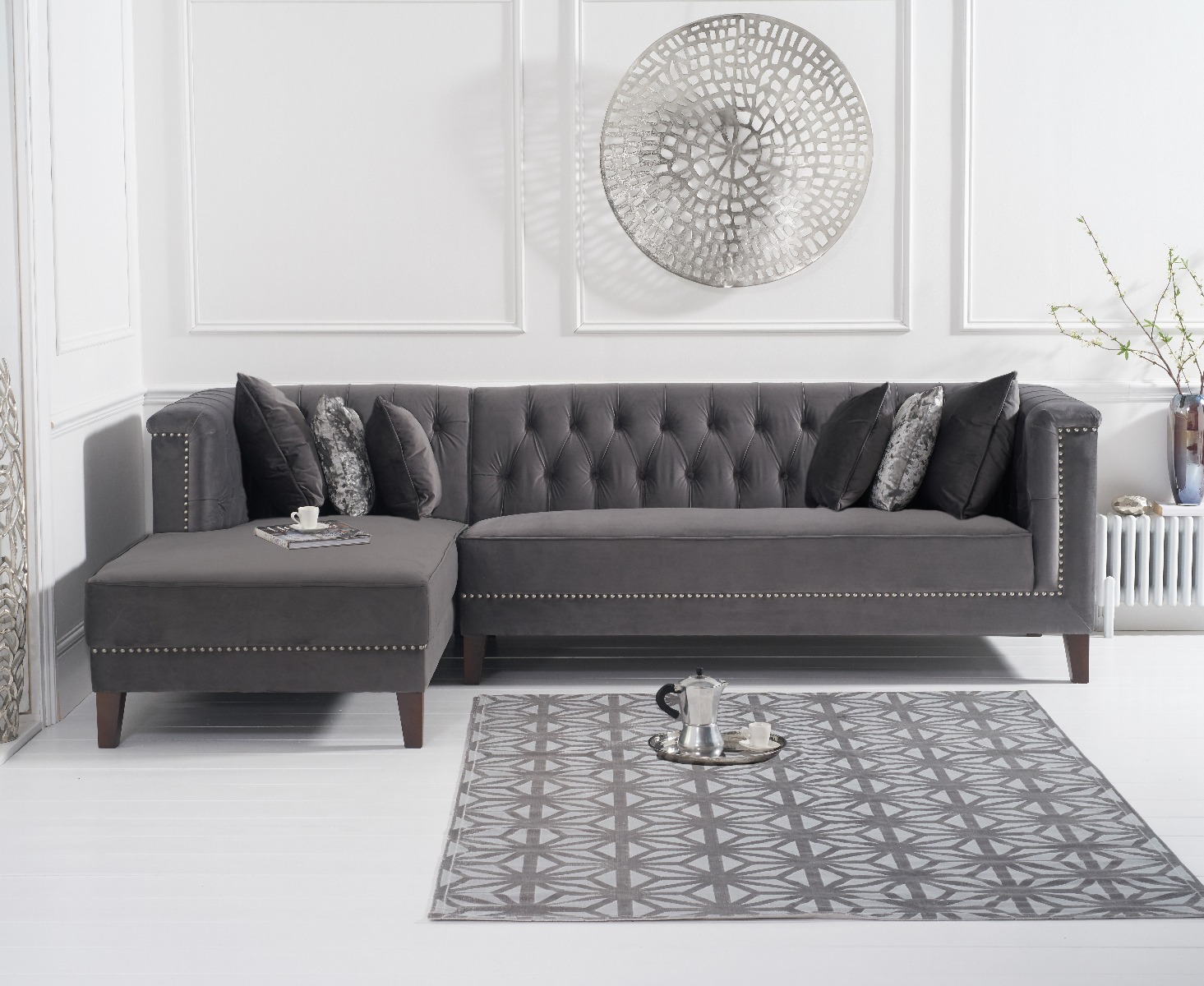 An image of Tammie Grey Velvet Left Facing Chaise Sofa