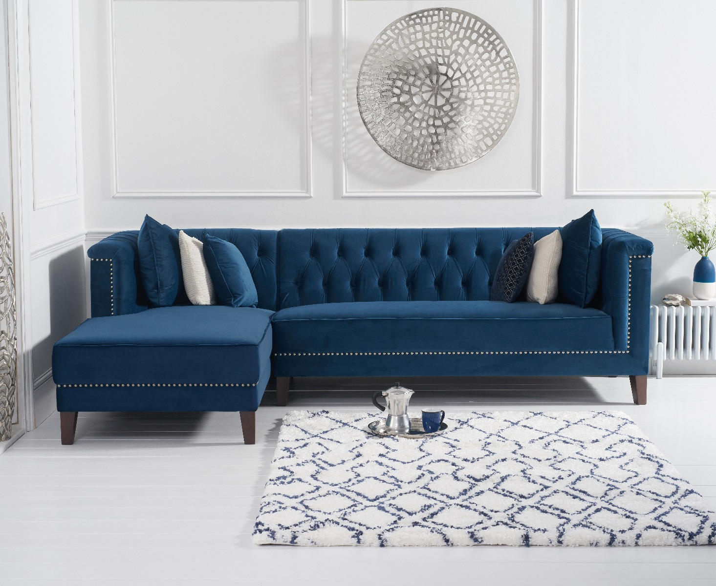An image of Tammie Blue Velvet Left Facing Chaise Sofa