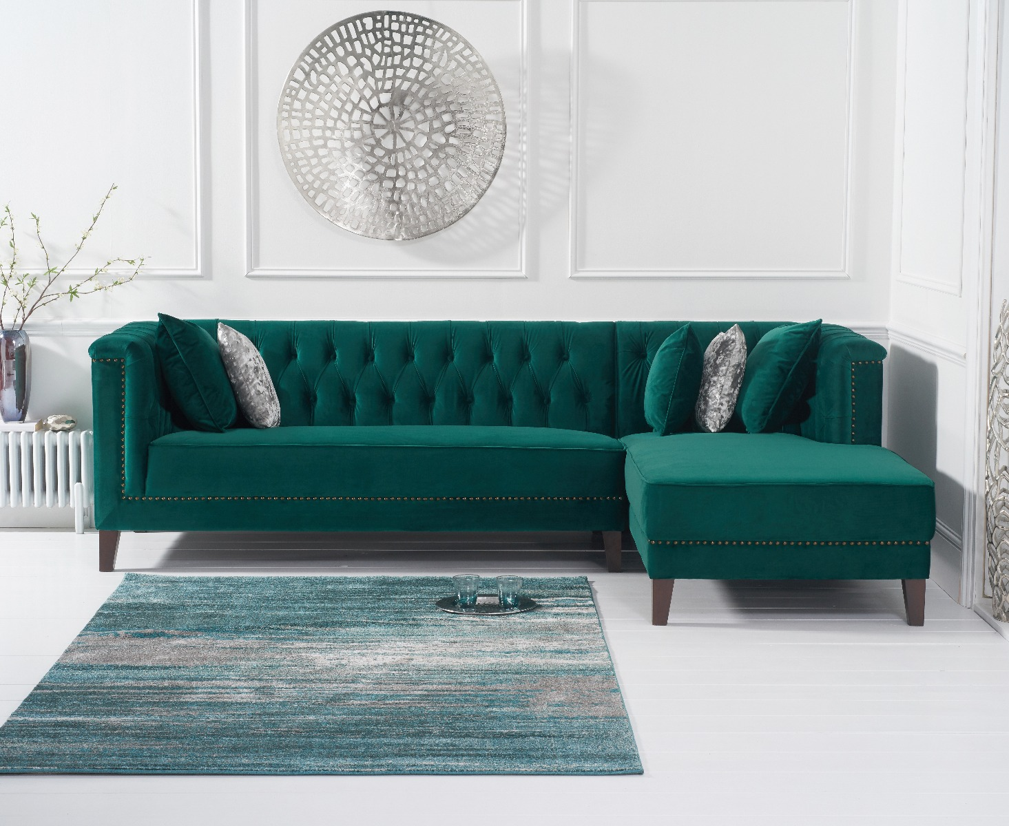 An image of Tammie Green Velvet Right Facing Chaise Sofa