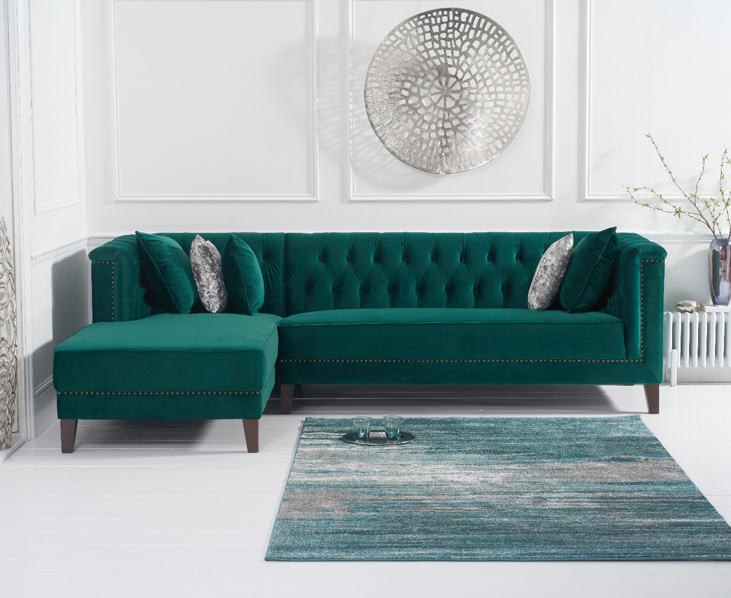 An image of Tammie Green Velvet Left Facing Chaise Sofa