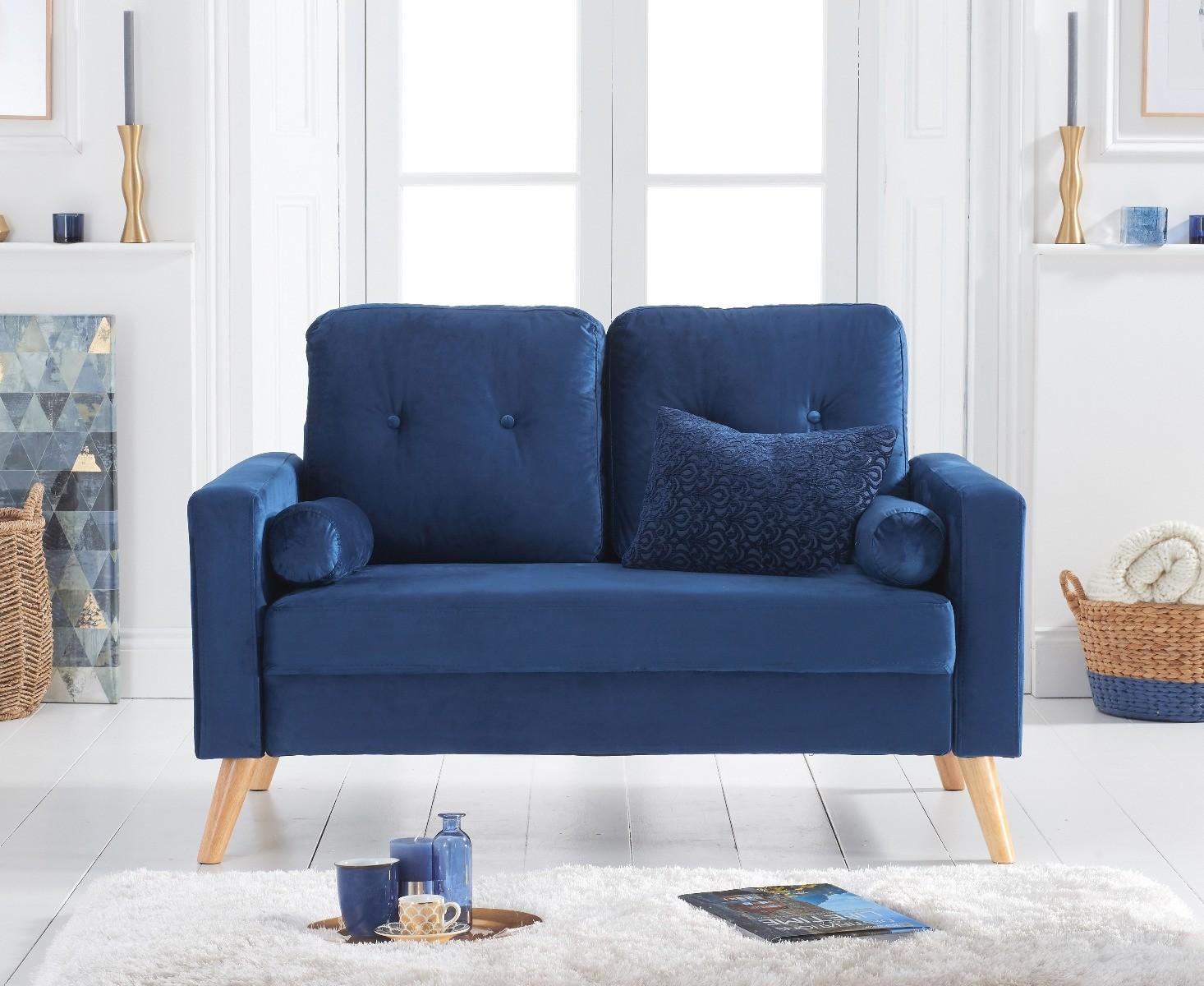 Chandler Blue Velvet 2 Seater Sofa