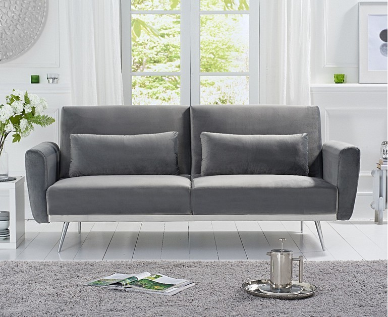 Ex-display Elena Sofa Bed in Grey Velvet