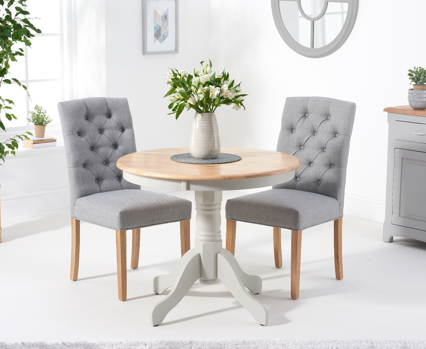 Product photograph showing Epsom 90cm Oak And Grey Dining Table With Claudia Fabric Chairs - Grey 2 Chairs