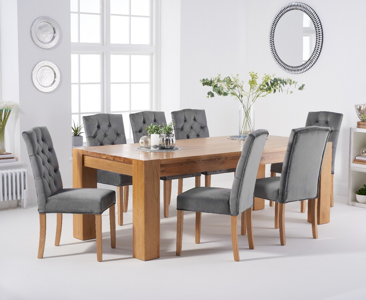 Product photograph showing Thames 220cm Oak Dining Table With Claudia Velvet Chairs - Green 6 Chairs