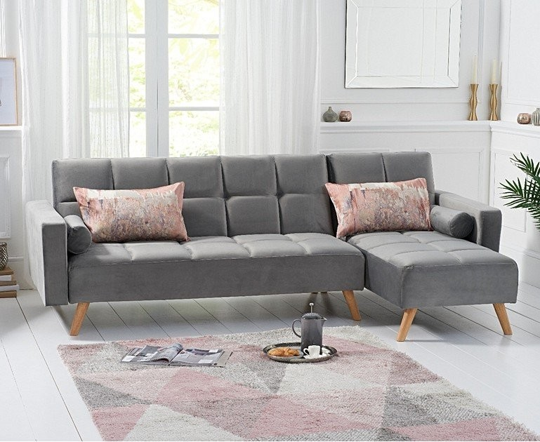 Ex-display Ana Sofa Bed Right Facing Chaise in Grey Velvet