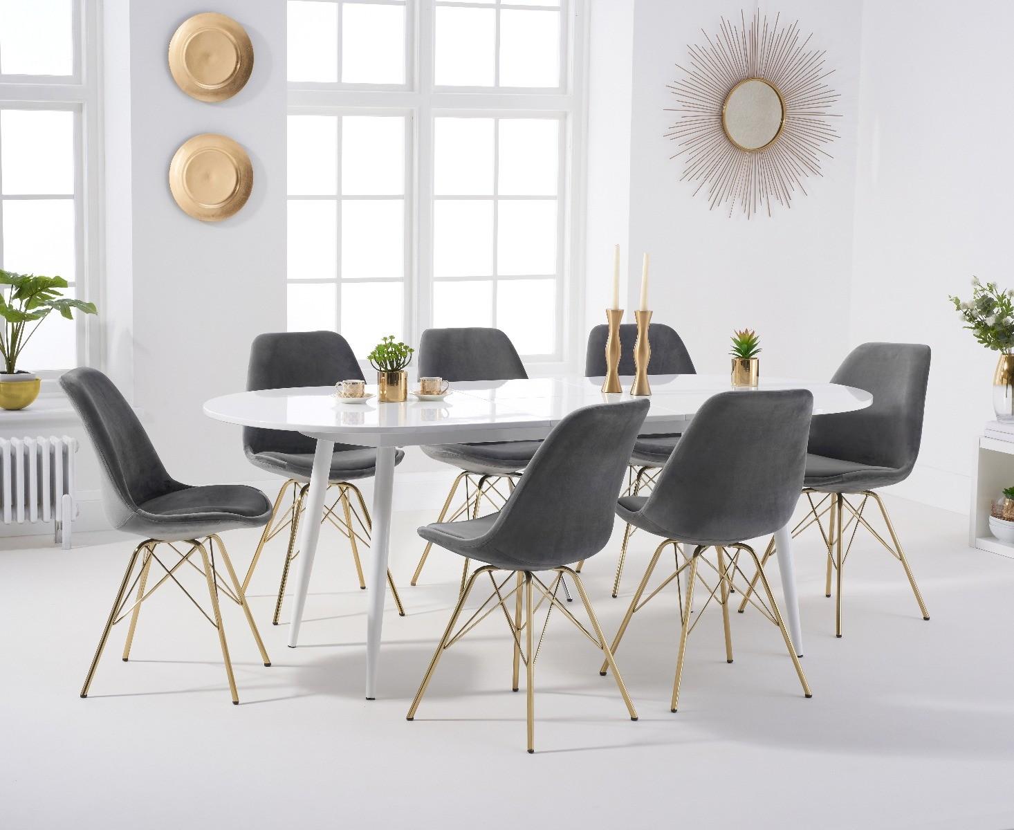 An image of Olivia Extending White High Gloss Dining Table with Celine Velvet Gold Leg Chair...