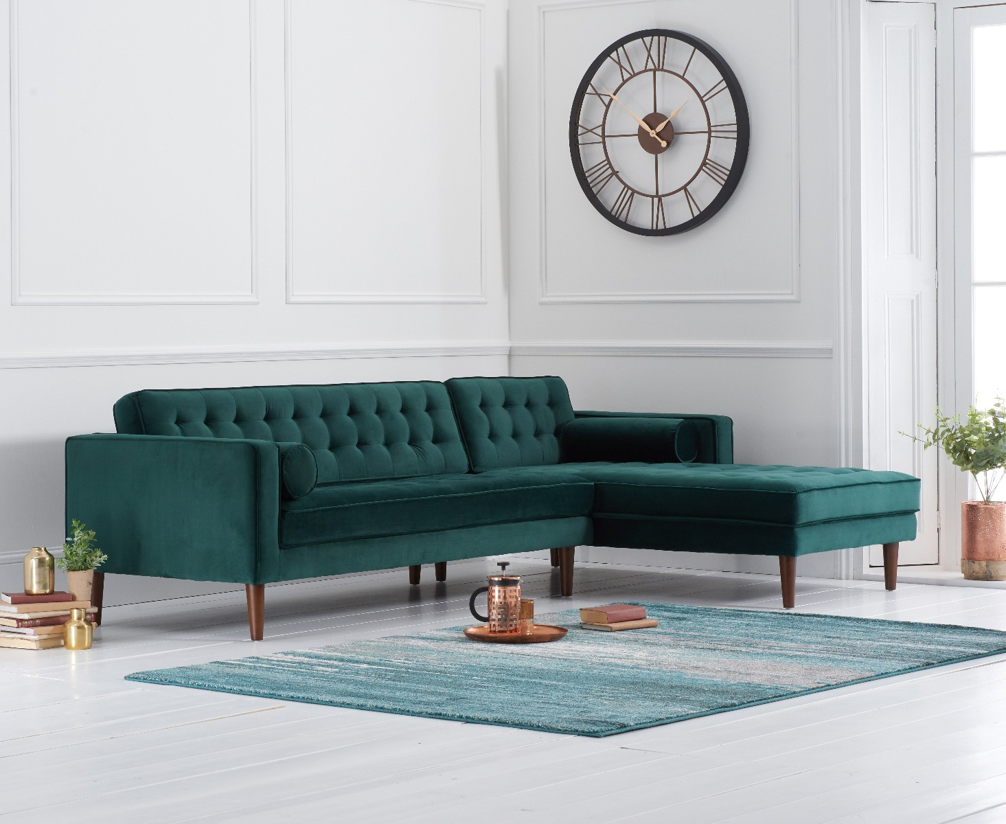 Product photograph showing Indus Green Velvet Right Facing Chaise Sofa