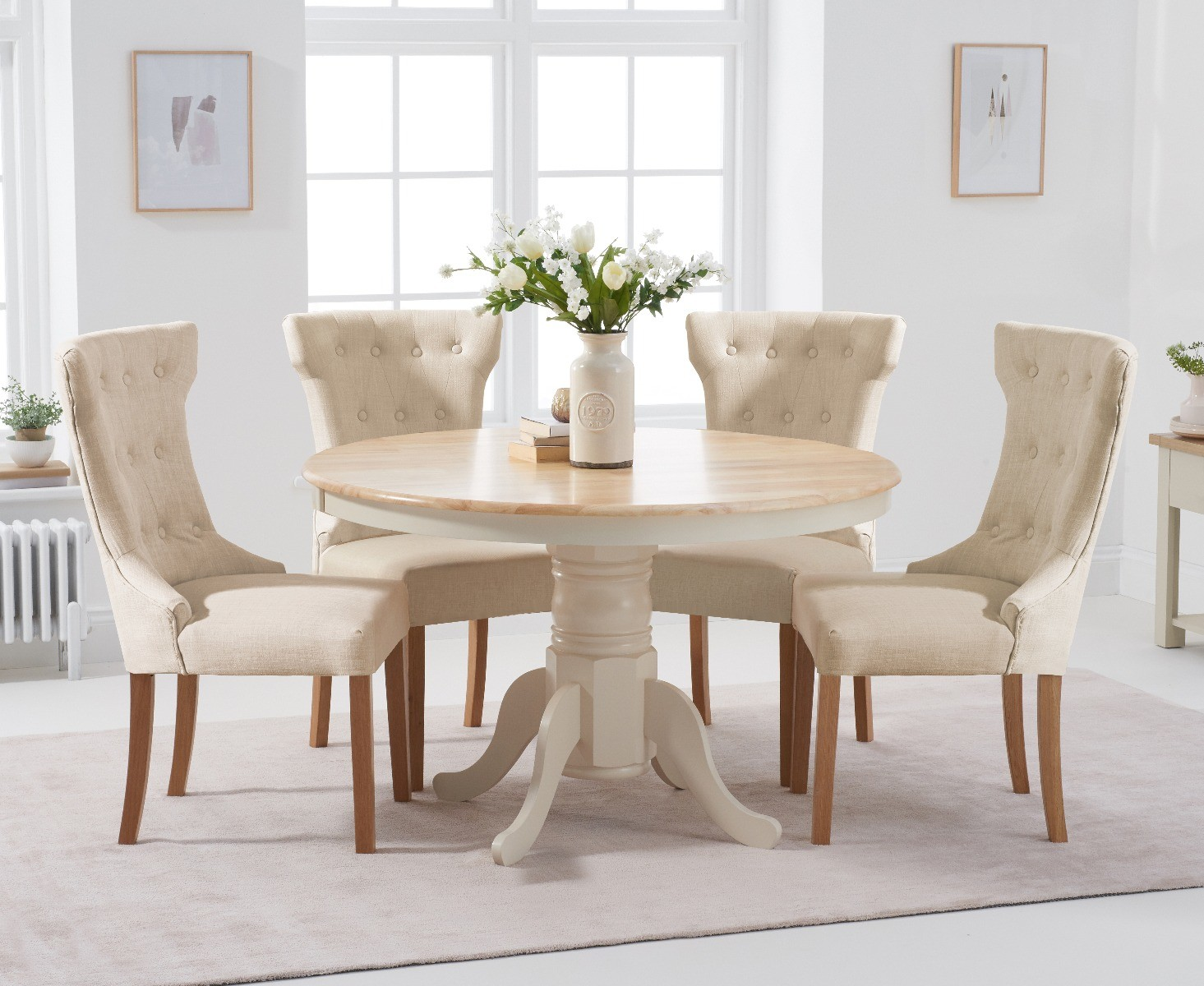 An image of Epsom 120cm Cream Round Pedestal Table with Camille Fabric Chairs - Cream, 4 Cha...