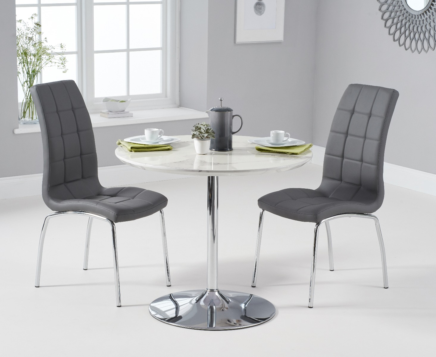 Product photograph showing Delaney 90cm Round High Gloss Carrera Grey Dining Table With Calgary Dining Chairs - Red 2 Chairs