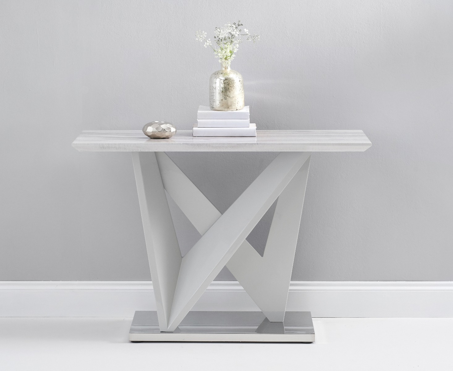 An image of Reims Marble Effect Carrera Light Grey Console Table