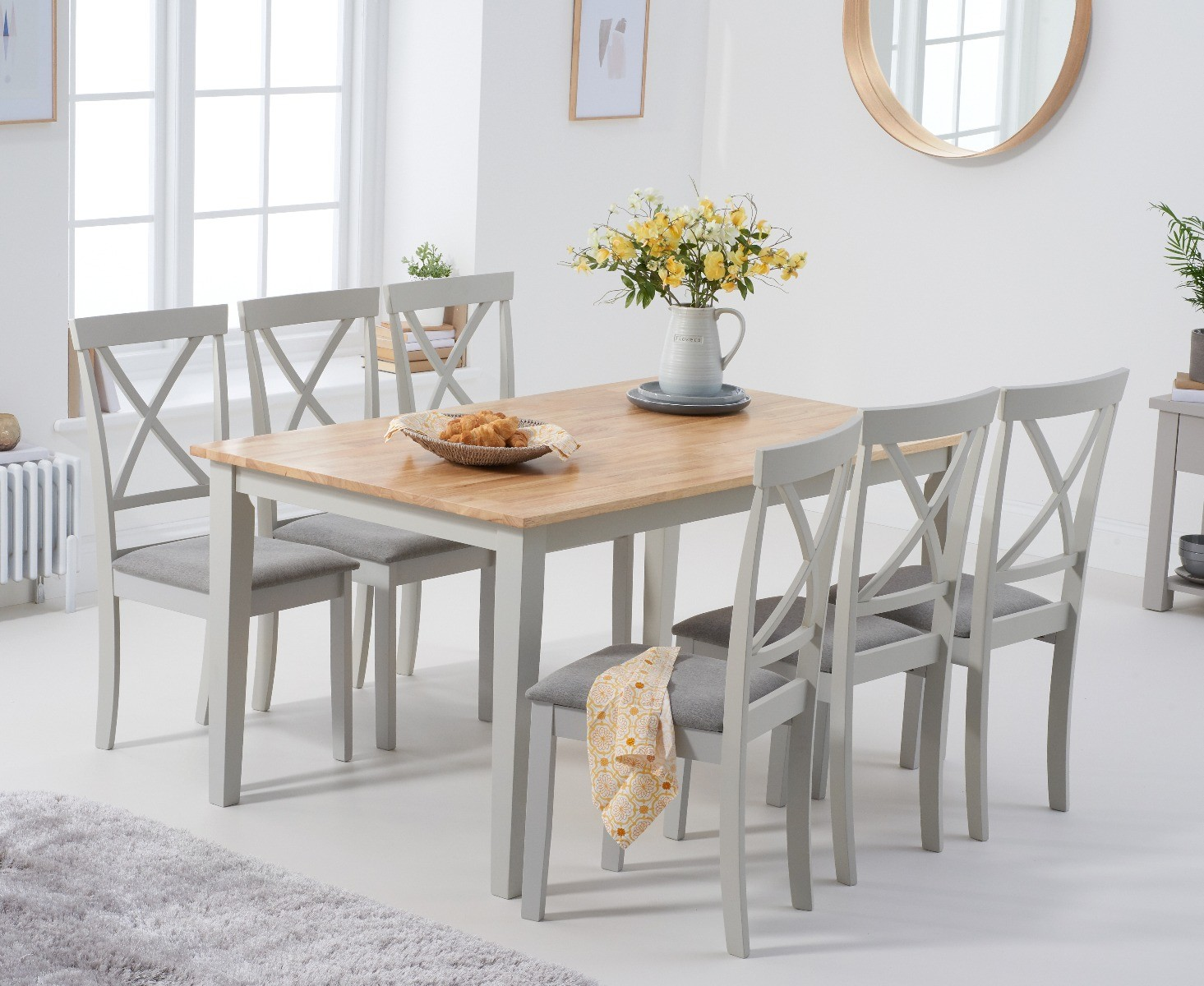 Product photograph showing Chiltern 150cm Oak And Grey Table With 6 Epsom Chairs With Grey Fabric Seats