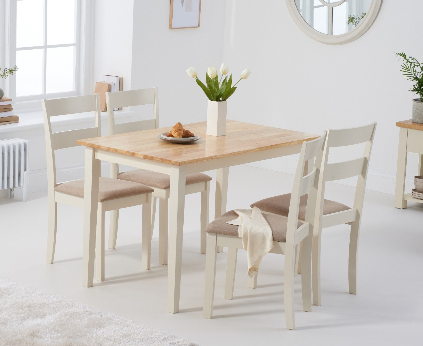 An image of Chiltern 114cm Oak and Cream Table with Chiltern Chairs with Cream Fabric Seats ...
