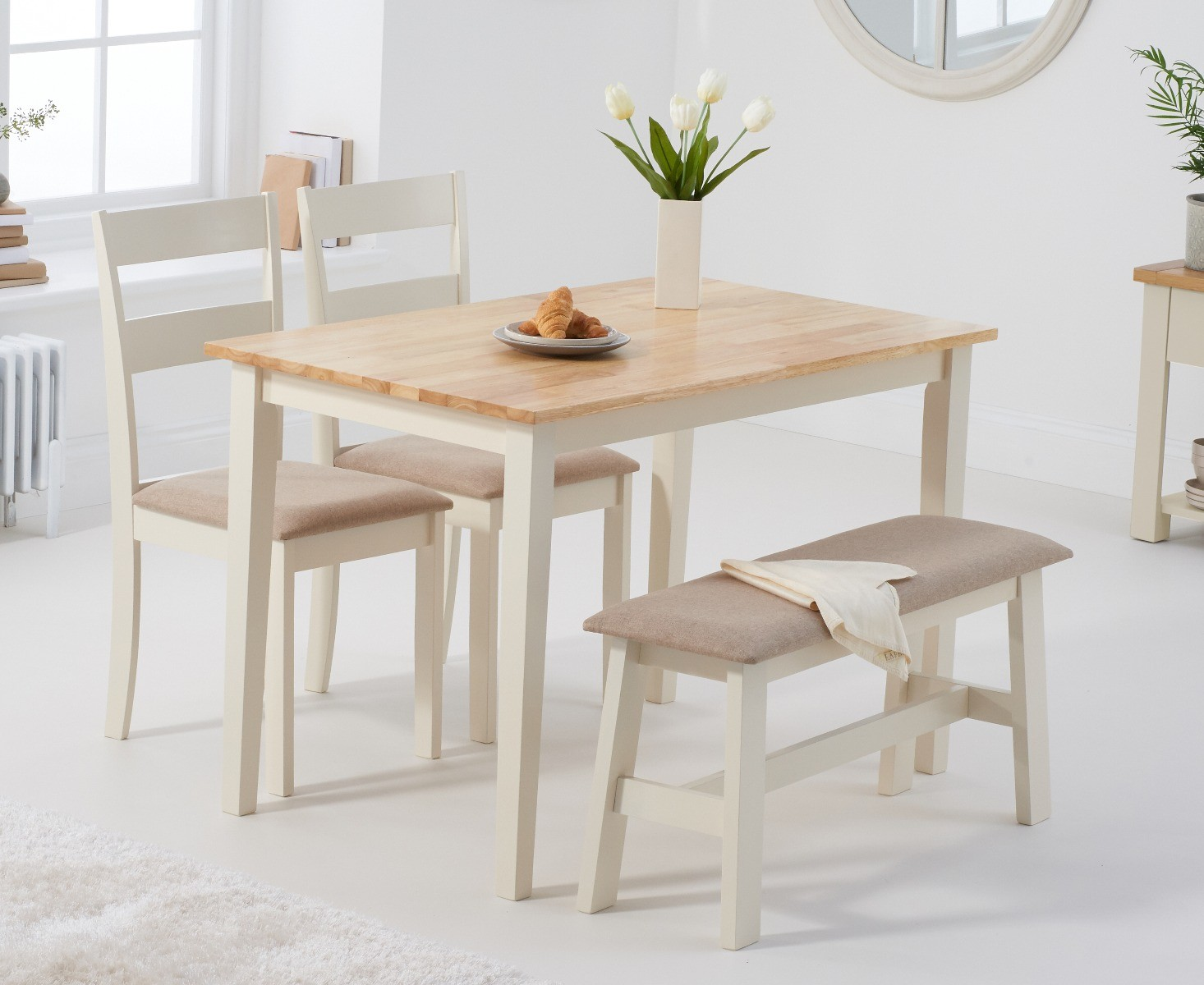 Product photograph showing Chiltern 114cm Oak And Cream Table With Chiltern Chairs With Cream Fabric Seats And Bench - Oak And Cream 2 Chairs