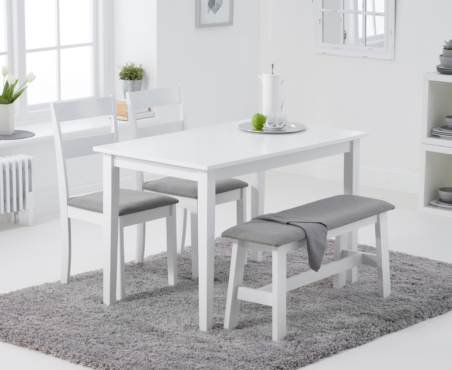 Product photograph showing Chiltern 114cm White Table With 2 Chiltern Chairs With Grey Fabric Seats And 1 Bench