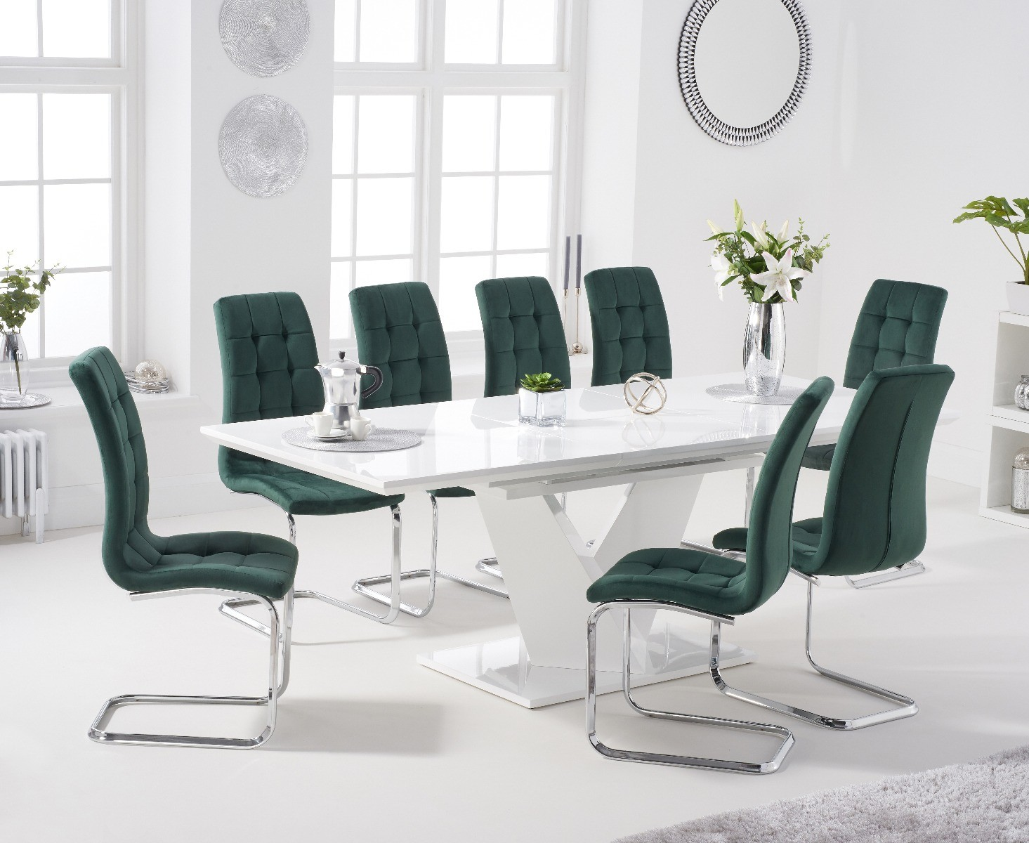 An image of Halo 160cm White High Gloss Extending Dining Table with Lorin Velvet Chairs - Gr...