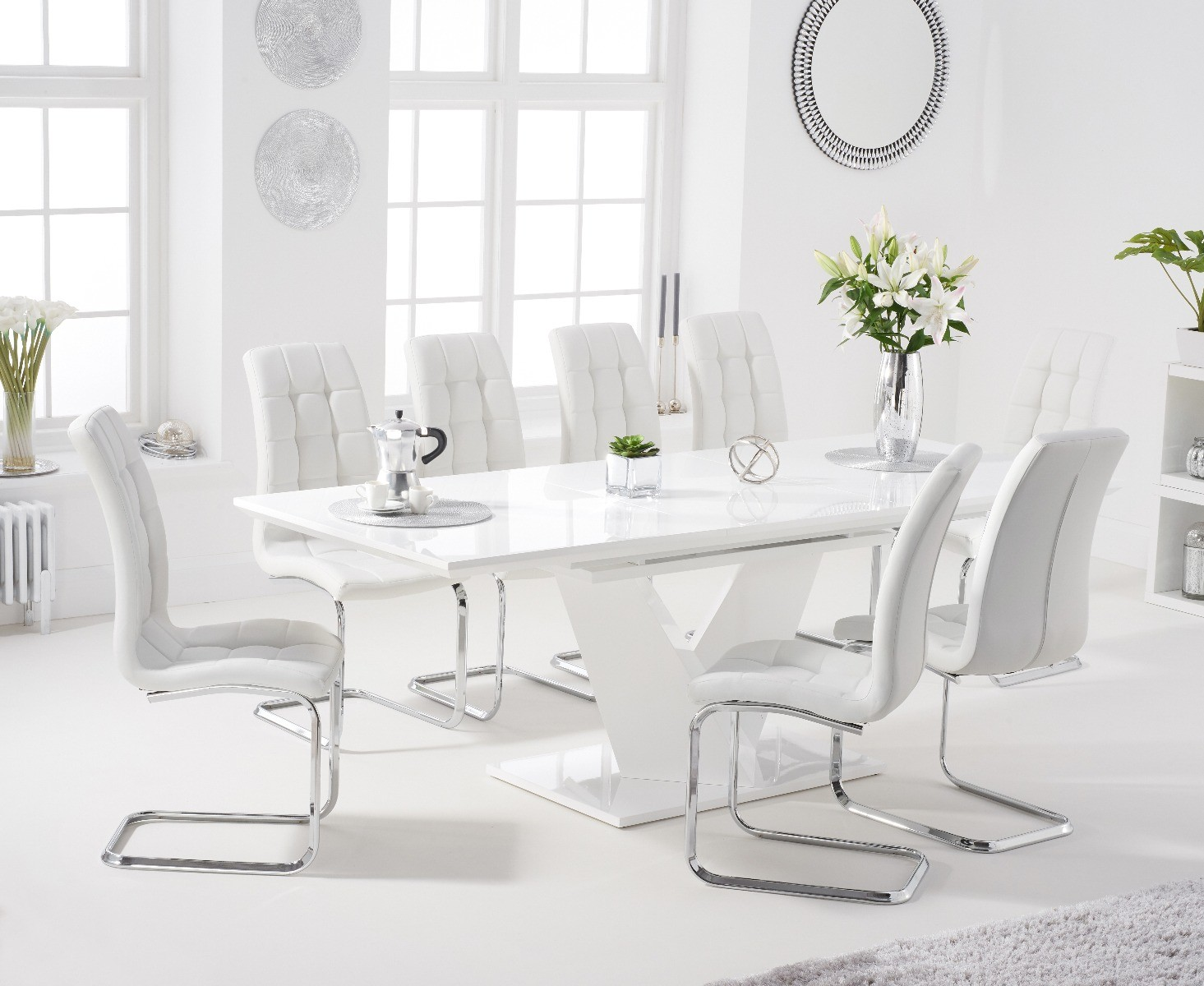 An image of Halo 160cm White High Gloss Extending Dining Table with Lorin Faux Leather Chair...