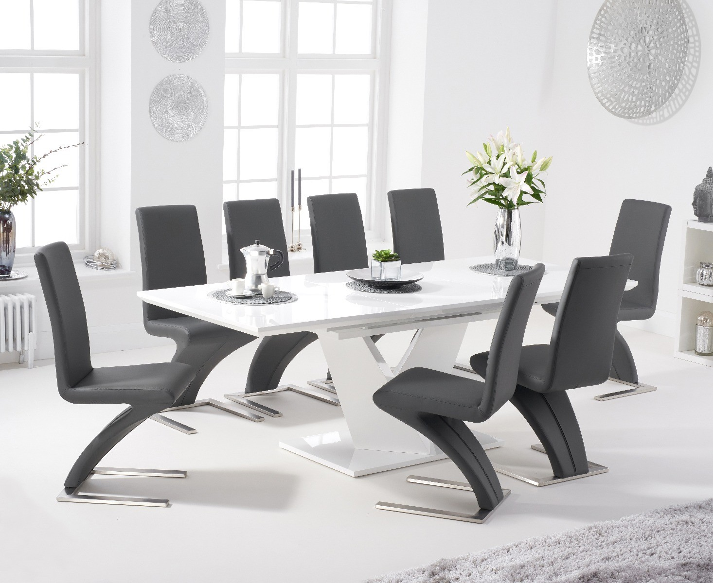 An image of Halo 160cm White High Gloss Extending Dining Table with Hampstead Faux Leather C...