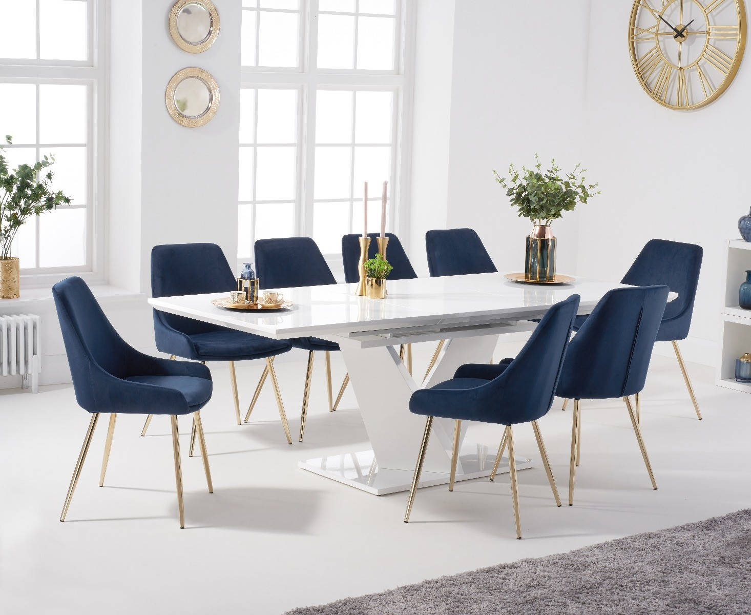 An image of Halo 160cm White High Gloss Extending Dining Table with Fern Velvet Chairs - Blu...
