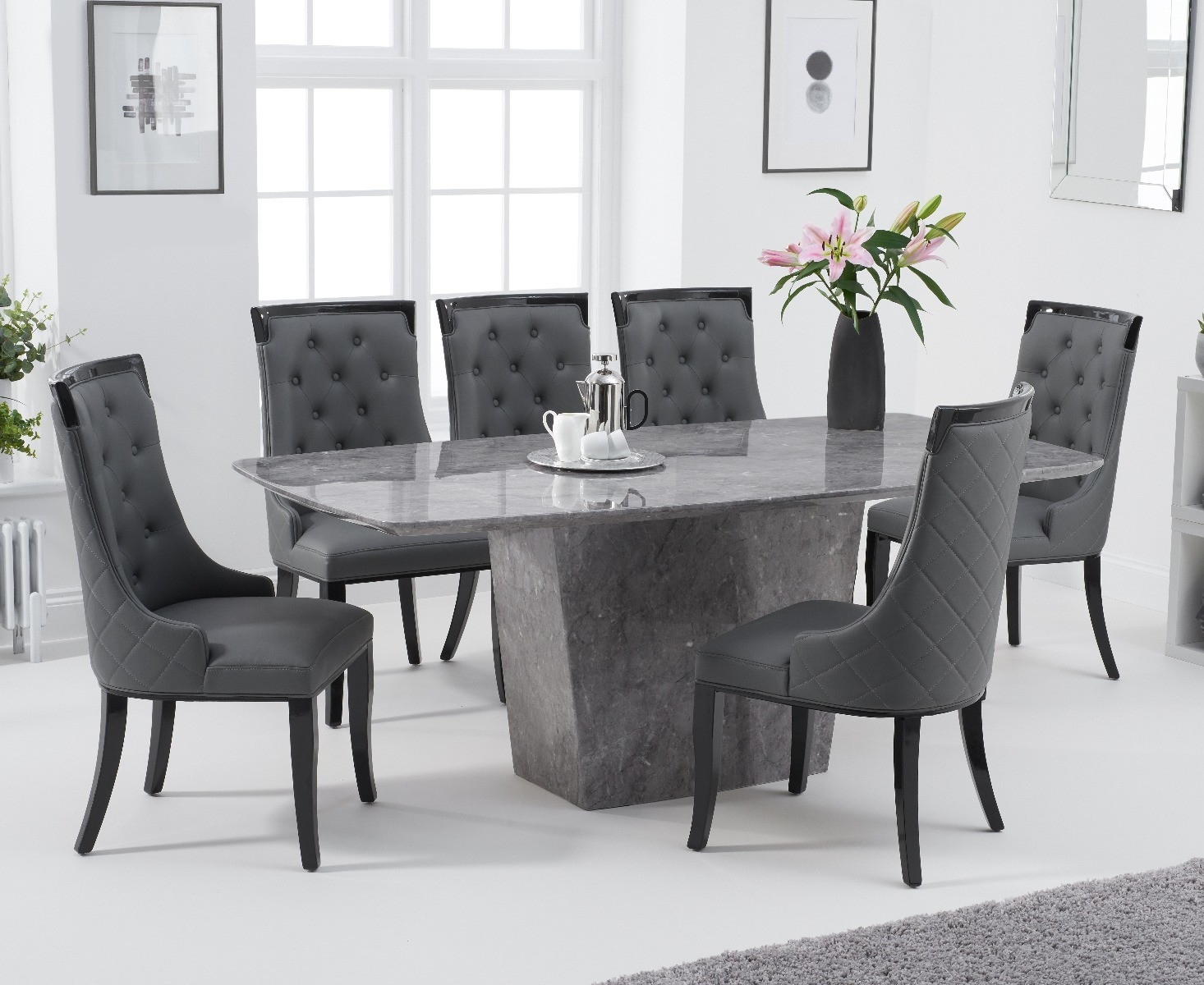 Product photograph showing Francesca 200cm Light Grey Marble Dining Table With Angelica Chairs - Cream 6 Chairs