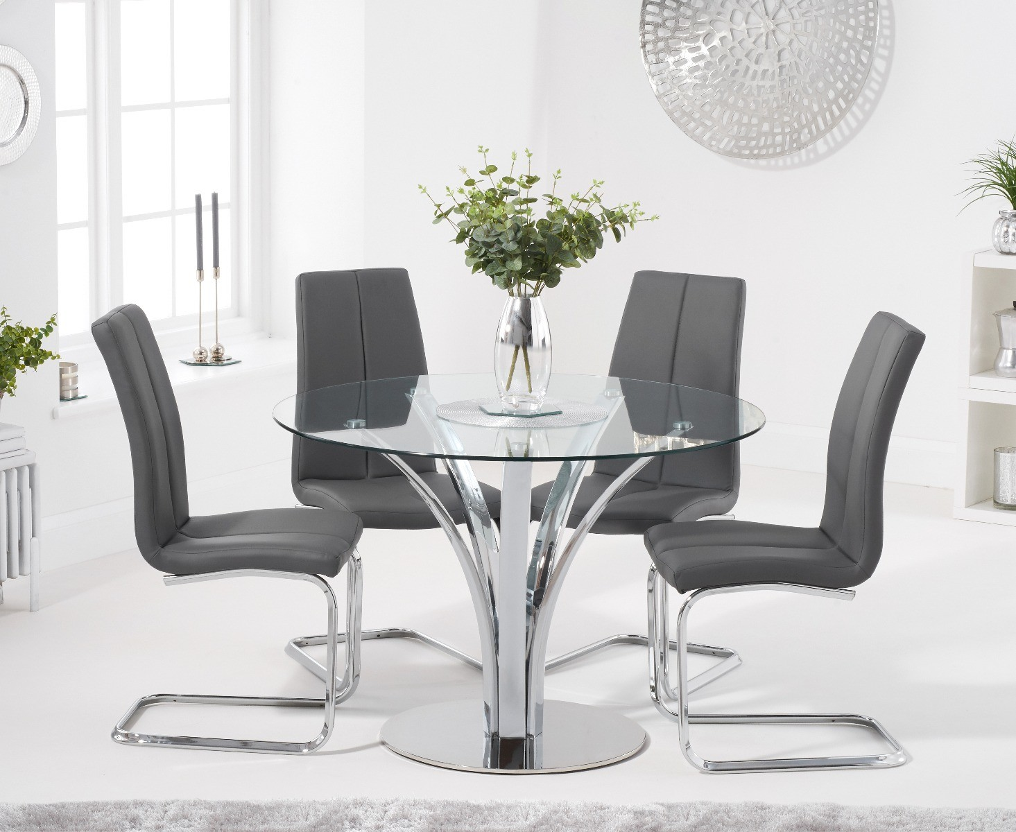 Product photograph showing Aria 110cm Glass Dining Table With Tarin Faux Leather Chairs - Grey 4 Chairs