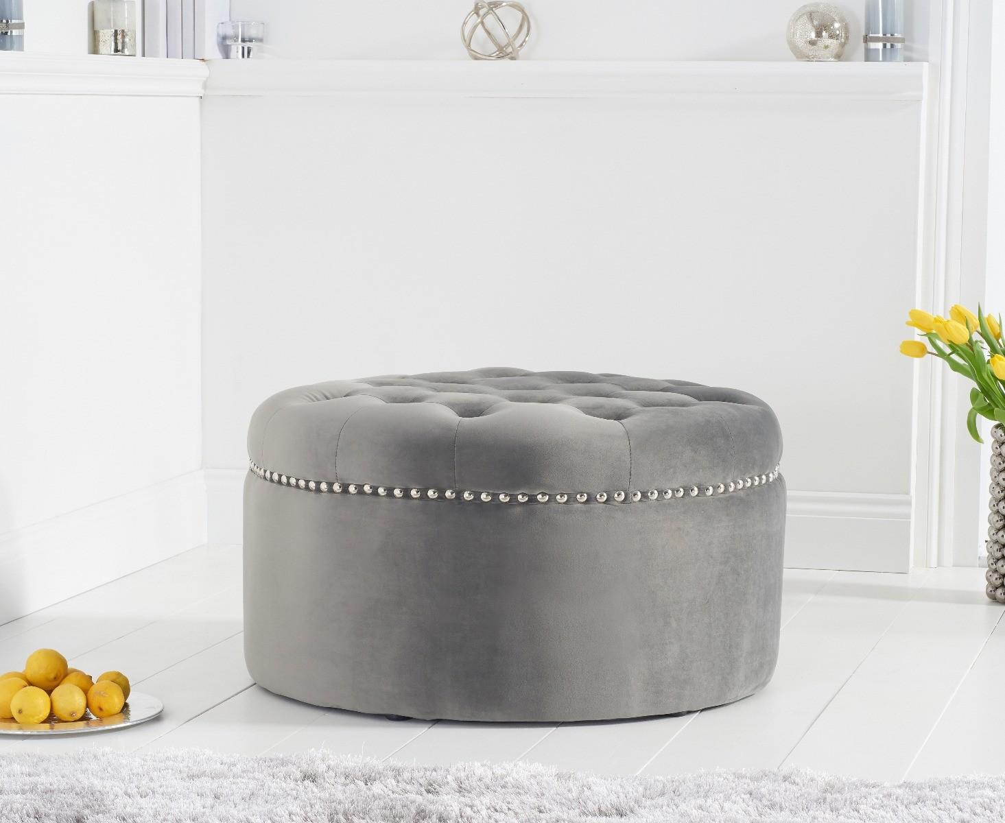 New York Grey Velvet Footstool