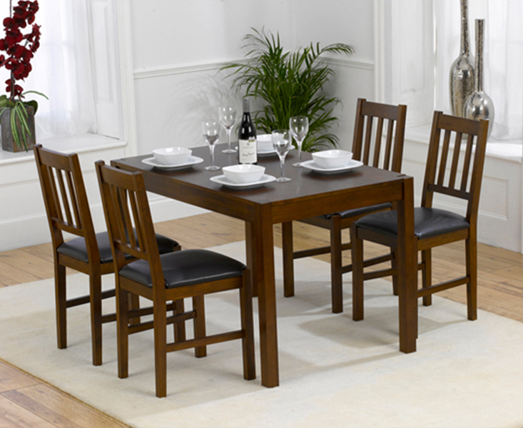 An image of Oxford 120cm Dark Solid Oak Dining Table with Oxford Chairs - Brown, 4 Chairs