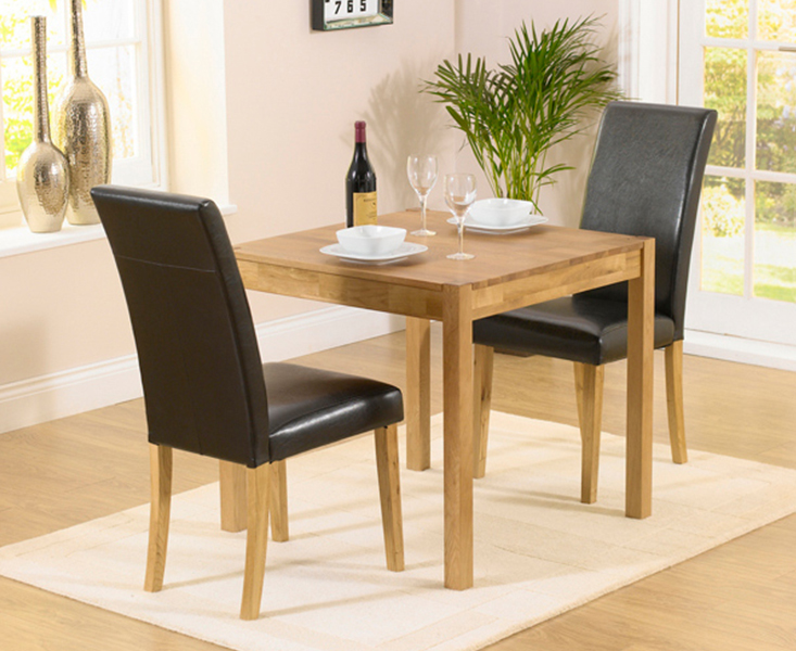 An image of Oxford 80cm Solid Oak Dining Table with Albany Brown Chairs - Brown, 2 Chairs