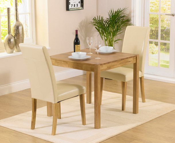 An image of Oxford 80cm Solid Oak Dining Table with Albany Cream Chairs - Cream, 2 Chairs