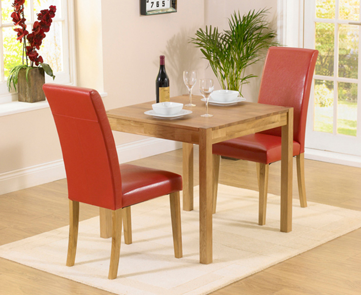 An image of Oxford 80cm Solid Oak Dining Table with Albany Red Chairs - Red, 2 Chairs