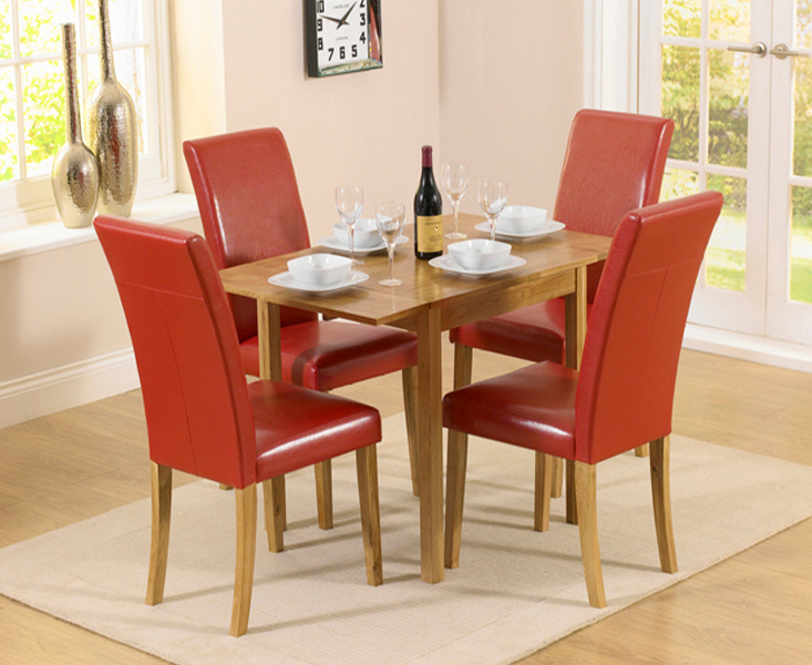An image of Oxford 70cm Solid Oak Extending Dining Table with Albany Red Chairs - Red, 2 Cha...