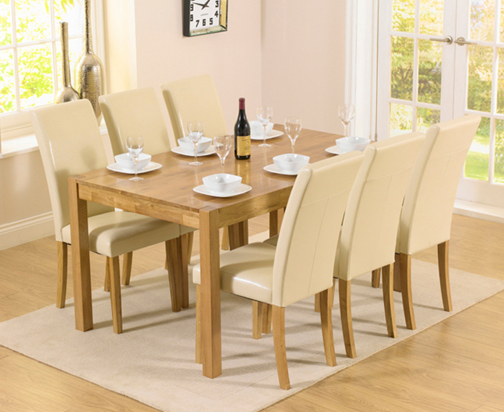 An image of Oxford 150cm Solid Oak Dining Set with Albany Cream Chairs - Brown, 6 Chairs