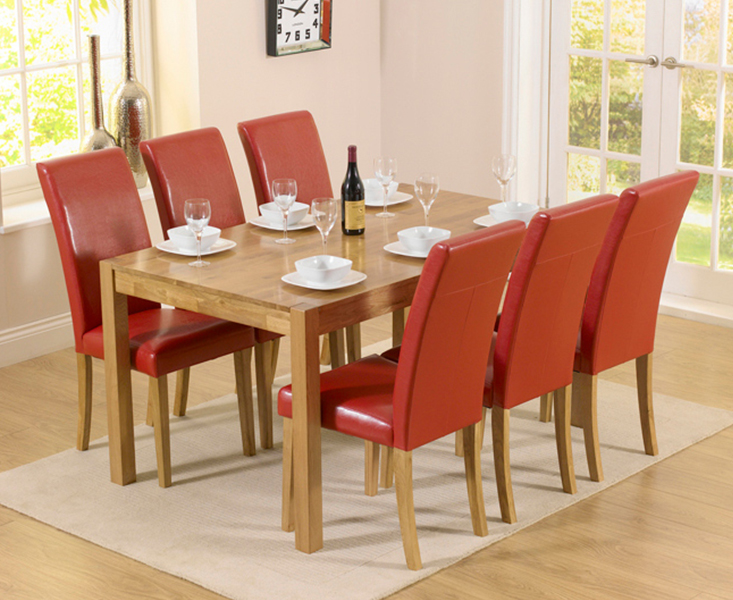 An image of Oxford 150cm Solid Oak Dining Table with Albany Red Chairs