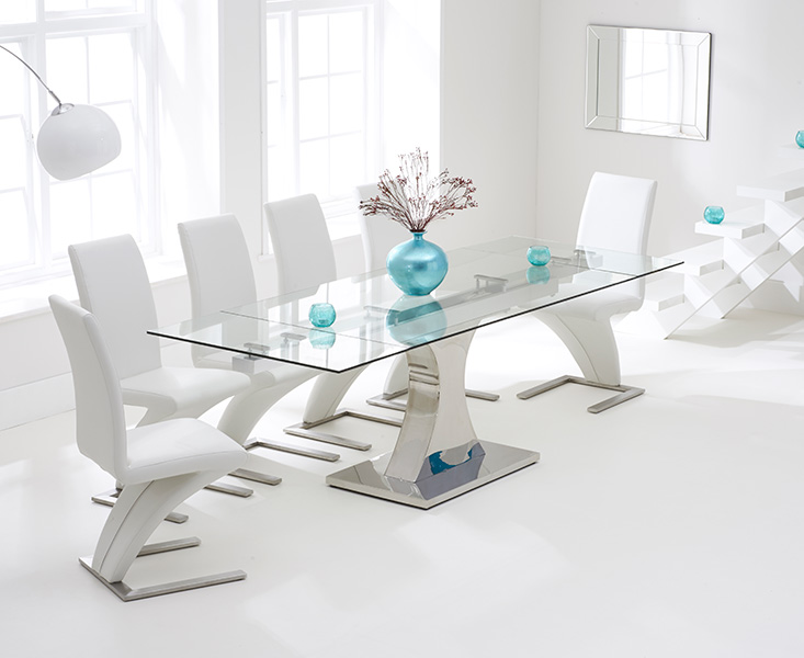 An image of Athena 160cm Extending Glass Dining Table with Hampstead Z Chairs