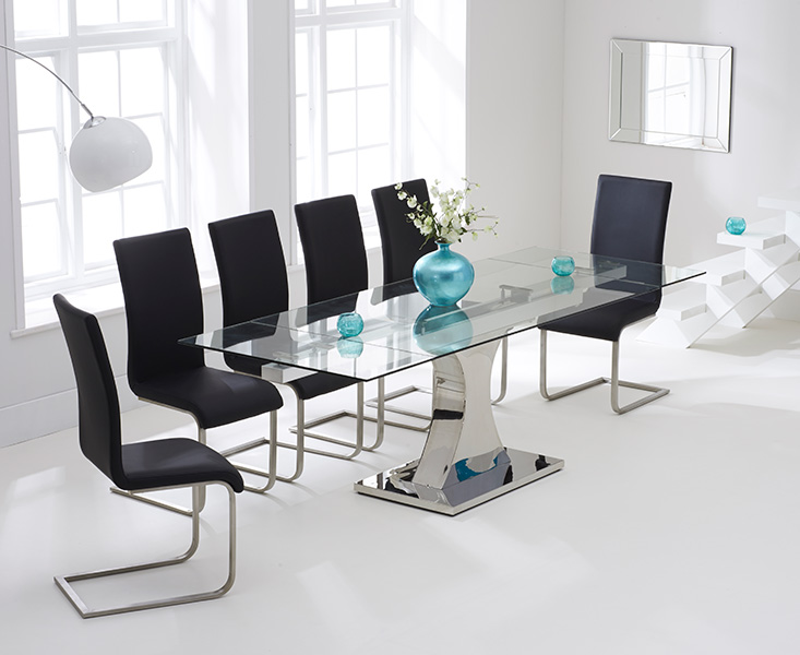 An image of Athena 160cm Glass Extending Dining Table with Malaga Chairs