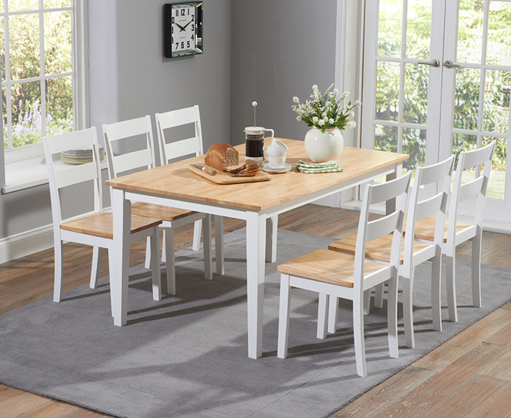 Product photograph showing Chiltern 150cm Oak And White Dining Table Set With Chairs - Oak And White 4 Chairs