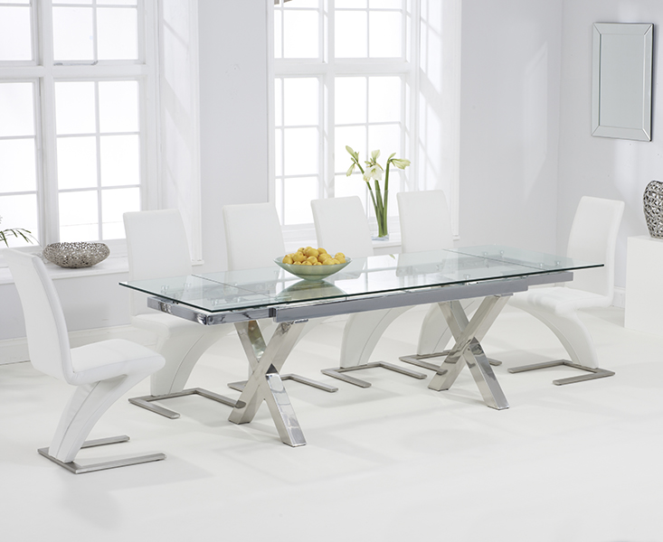An image of Celeste 160cm Extending Glass Dining Table with Hampstead Z Chairs